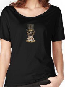 Cute Steampunk Pug Puppy Dog Women's Relaxed Fit T-Shirt