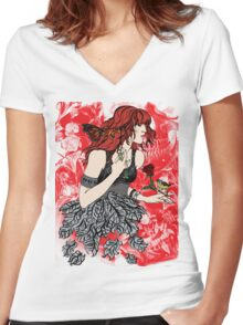'Once upon a time there was Florence' (2) Women's Fitted V-Neck T-Shirt