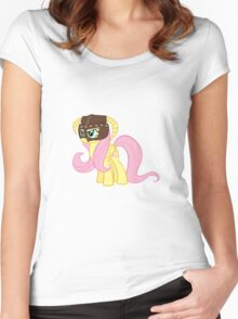 Fluttershy Dovahkiin (No Text) Women's Fitted Scoop T-Shirt