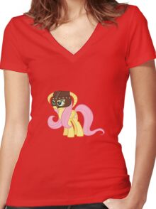 Fluttershy Dovahkiin (No Text) Women's Fitted V-Neck T-Shirt