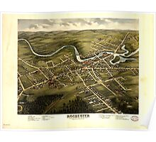 Panoramic Maps Bird's eye view of Rochester Strafford County New Hampshire 1877 from a position east of town Library  Poster