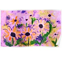 Birthday Flowers, watercolor Poster