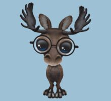 Cute Curious Baby Moose Nerd Wearing Glasses on Blue One Piece - Short Sleeve
