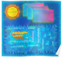 Vaporwave-Ocean Blues Poster