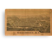 Panoramic Maps Greenwich NY Canvas Print