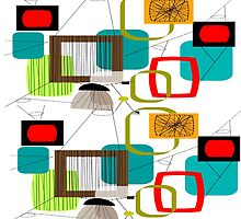 Mid Century Atomic Age Inspired Abstract by Gail Gabel, LLC