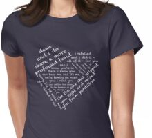 Quotes of the Heart - Destiel (White) Womens Fitted T-Shirt