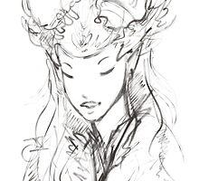 Fairy Queen Monochrome  by JNGarrettArt