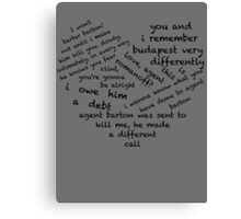 Quotes of the Heart - Clintasha (Black) Canvas Print