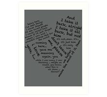 Quotes of the Heart - Janto (Black) Art Print