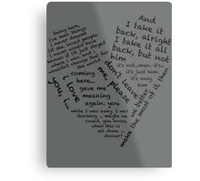 Quotes of the Heart - Janto (Black) Metal Print