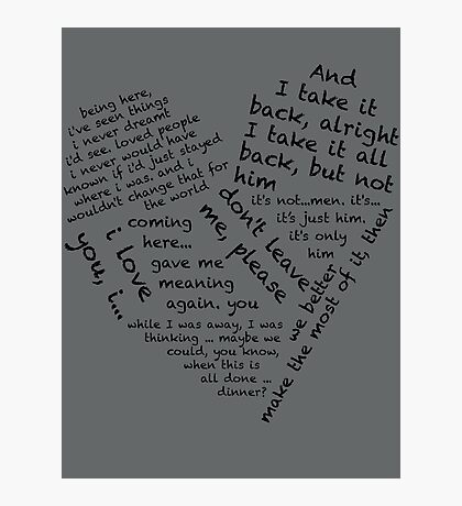 Quotes of the Heart - Janto (Black) Photographic Print