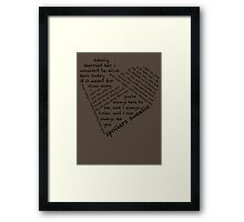 Quotes of the Heart - River/Doctor (Black) Framed Print