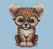 Cute Baby Leopard Cub Wearing Glasses on Teal Blue Baby Tee