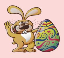 Easter Bunny Proud of his Big Decorated Egg Kids Tee