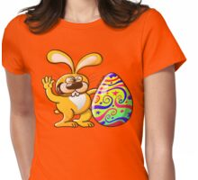 Easter Bunny Proud of his Big Decorated Egg Womens Fitted T-Shirt