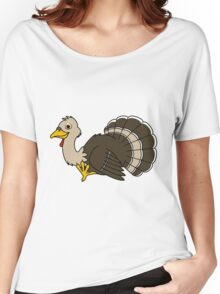 Thanksgiving Turkey with Light Brown Feathers Women's Relaxed Fit T-Shirt