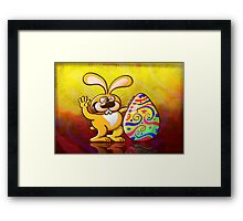 Easter Bunny Proud of his Big Decorated Egg Framed Print