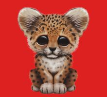 Cute Baby Leopard Cub on Red Baby Tee
