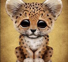 Cute Baby Leopard Cub  by Jeff Bartels