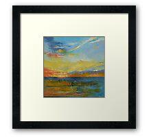 Turquoise Blue Sunset Framed Print