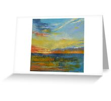 Turquoise Blue Sunset Greeting Card