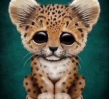 Cute Baby Leopard Cub on Teal Blue by Jeff Bartels