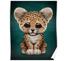 Cute Baby Leopard Cub on Teal Blue Poster