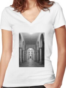 Beautiful corridor with classic arches in black and white Women's Fitted V-Neck T-Shirt
