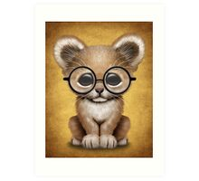 Cute Baby Lion Cub Wearing Glasses  Art Print