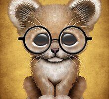 Cute Baby Lion Cub Wearing Glasses  by Jeff Bartels