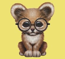 Cute Baby Lion Cub Wearing Glasses  One Piece - Short Sleeve