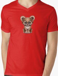 Cute Baby Lion Cub Wearing Glasses  Mens V-Neck T-Shirt