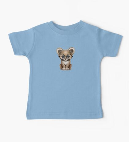 Cute Baby Lion Cub Wearing Glasses on Teal Blue Baby Tee
