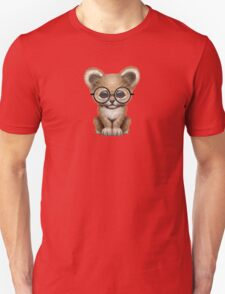 Cute Baby Lion Cub Wearing Glasses on Teal Blue Unisex T-Shirt