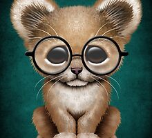 Cute Baby Lion Cub Wearing Glasses on Teal Blue by Jeff Bartels