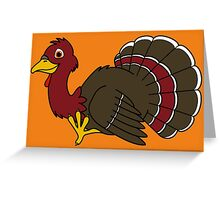 Thanksgiving Turkey with Red Feathers Greeting Card