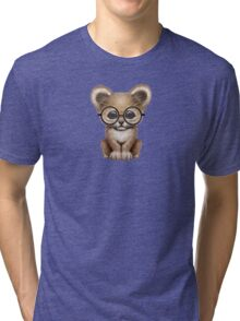 Cute Baby Lion Cub Wearing Glasses on Red Tri-blend T-Shirt