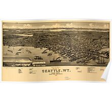 Panoramic Maps Bird's eye view of the city of Seattle WT Puget Sound county seat of King County 1884 Poster