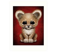 Cute Baby Lion Cub on Red Art Print