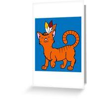 Thanksgiving Orange Cat with Indian Headdress Greeting Card