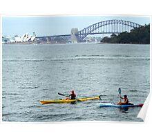 Kyaking Sydney harbour Poster
