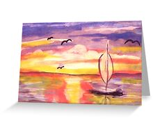 Lovely day to go sailing, watercolor Greeting Card