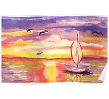 Lovely day to go sailing, watercolor Poster