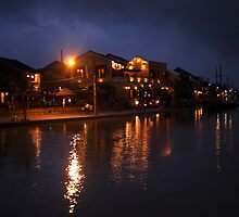 Thu Bon River By Night by mokeymoo