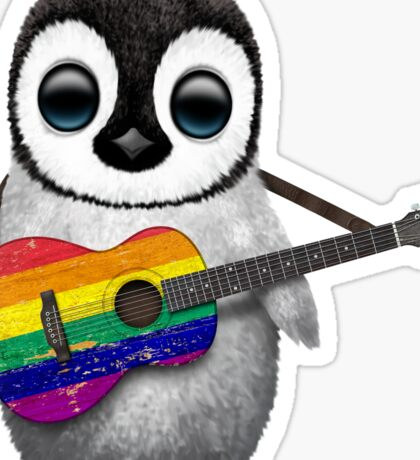 Baby Penguin Playing Gay Pride Rainbow Flag Guitar Sticker