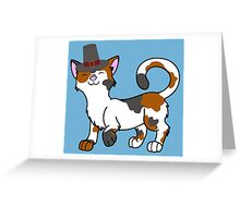 Thanksgiving Calico Cat with Pilgrim Hat Greeting Card