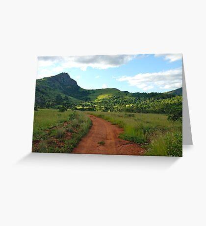 red dirt, green grass.  mlilwane wildlife sanctuary Greeting Card