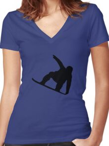 Snowboarder Women's Fitted V-Neck T-Shirt
