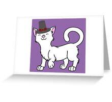Thanksgiving White Cat with Pilgrim Hat Greeting Card